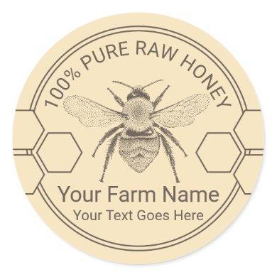 Vintage Bee Honey Jar Apiary Beekeeper Farm Classic Round Sticker