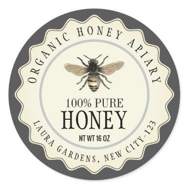 Vintage Bee Honey Jar Custom Label