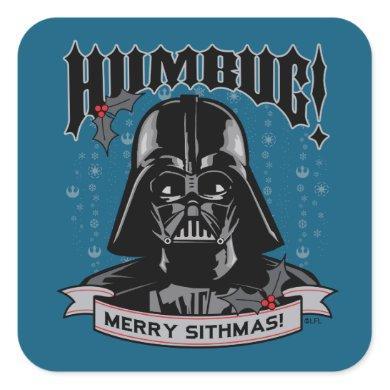 "Vintage Darth Vader ""Humbug! Merry Sithmas!"" Square Sticker"