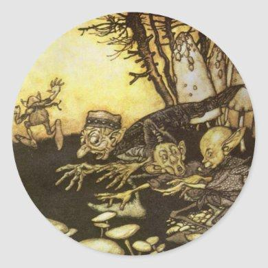 Vintage Fairy Tale, Band of Workmen by Rackham Classic Round Sticker