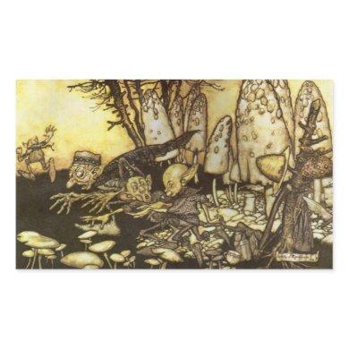 Vintage Fairy Tale, Band of Workmen by Rackham Rectangular Sticker