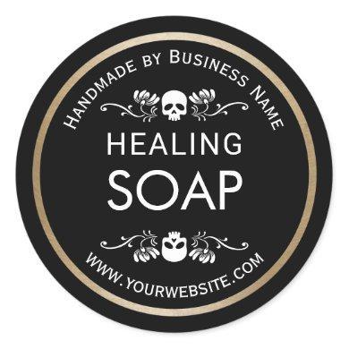 Vintage Flower & Skull Handmade Healing Soap Classic Round Sticker
