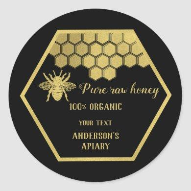 Vintage gold bee  honey comb honey jar classic round sticker