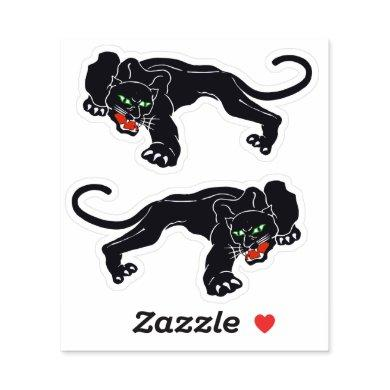 Vintage Graphic Crouching Black Panther Wild Cat Sticker