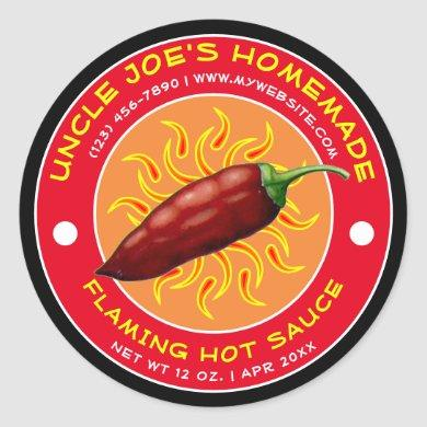 Vintage Homemade Flaming Hot Sauce Label Template