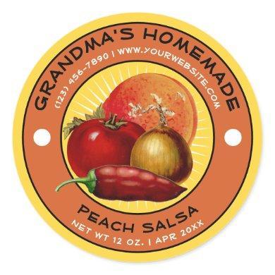 Vintage Homemade Peach Salsa Label Template