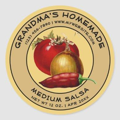 Vintage Homemade Salsa Label Template