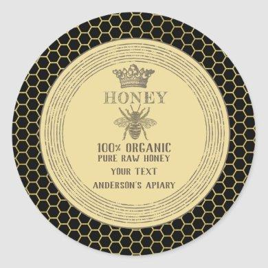Vintage honey jar crown honey bee apiary classic round sticker