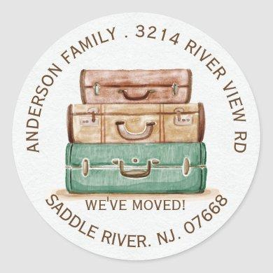 Vintage Luggage | New Home Address Label Sticker