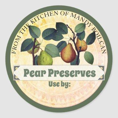 Vintage pears from the kitchen of canning label