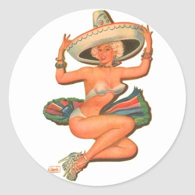 Vintage Pin-Up 'Hot Salsa' Sombrero Girl Classic Round Sticker