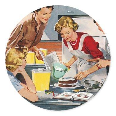 Vintage Retro Women Ad Let's Bake a Cake Classic Round Sticker