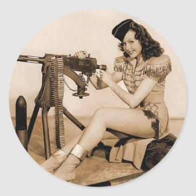 Vintage Retro Women Machine Gunner Girl Classic Round Sticker