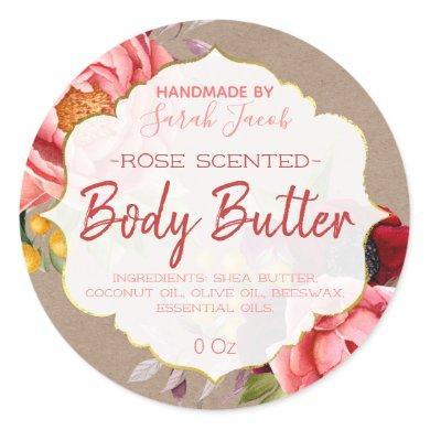 Vintage Rustic Floral Body Butter Kraft Label