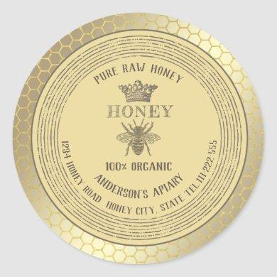 Vintage rustic gold bee crown honey comb honey jar classic round sticker