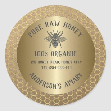 Vintage rustic Kraft look bee honey comb honey jar Classic Round Sticker
