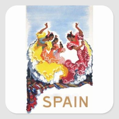 Vintage Spain Flamenco Dancers Travel Poster Square Sticker