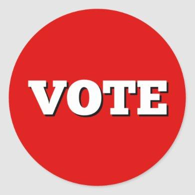 Vote Sticker on Red Background