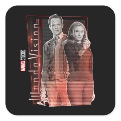 Wanda and Vision Retro Couple Square Sticker