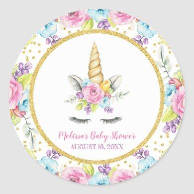 Watercolor Floral Unicorn Baby Shower Classic Round Sticker