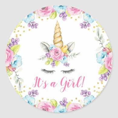 Watercolor Floral Unicorn It's a Girl Baby Shower Classic Round Sticker