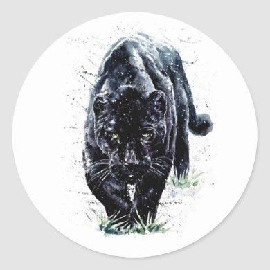 Watercolor Panther Round Stickers