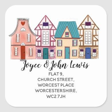 watercolour houses Change of Address Stickers