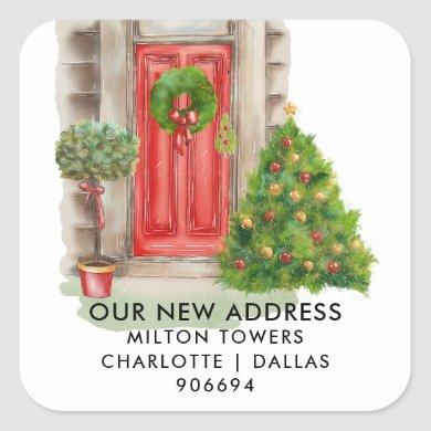 We Have Moved | Red Door Christmas | New Address Square Sticker
