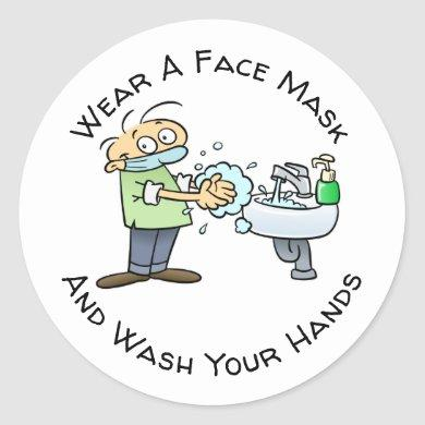Wear A Face Mask And Wash Your Hands Cartoon Classic Round Sticker