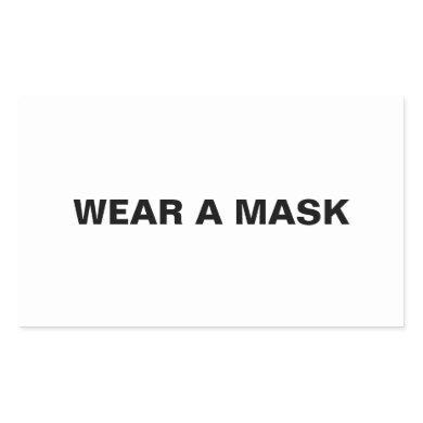 Wear a mask, black white minimalist rectangular sticker