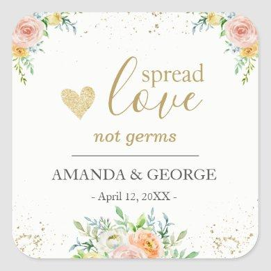 Wedding Hand Sanitizer labels floral and gold
