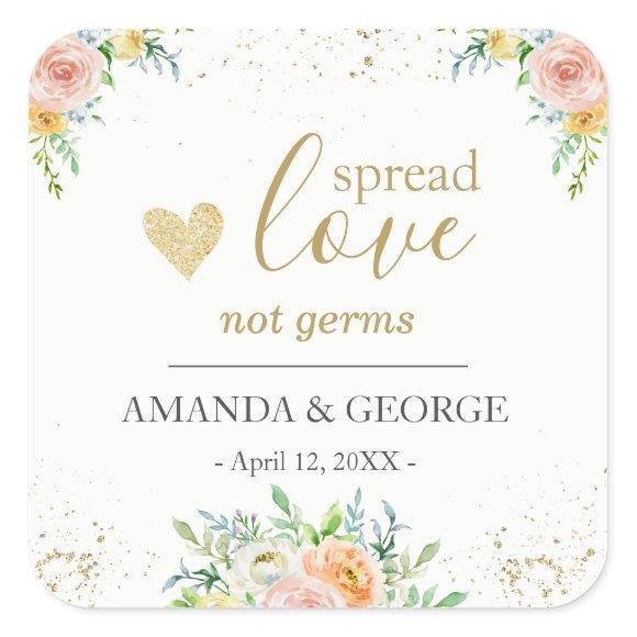 Wedding Hand Sanitizer labels floral and gold
