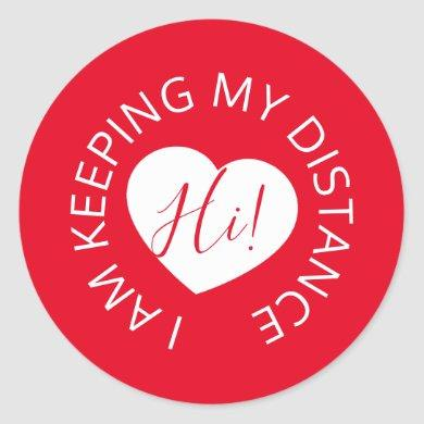 Wedding social distancing guest care red heart classic round sticker