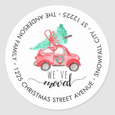 We've Moved Christmas Car Tree Holiday Address Classic Round Sticker