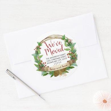 We've Moved Christmas Holiday Moving Announcement Classic Round Sticker
