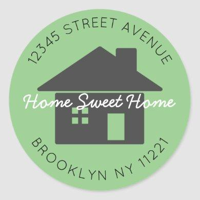 We've Moved Home Sweet Home Green Return Address Classic Round Sticker