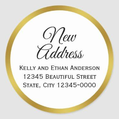 White and Faux Gold New Address Classic Round Sticker