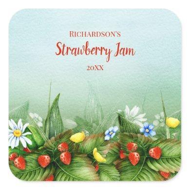 Wild strawberry field homemade jam jelly preserves square sticker