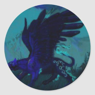 Winged Black Panther Classic Round Sticker