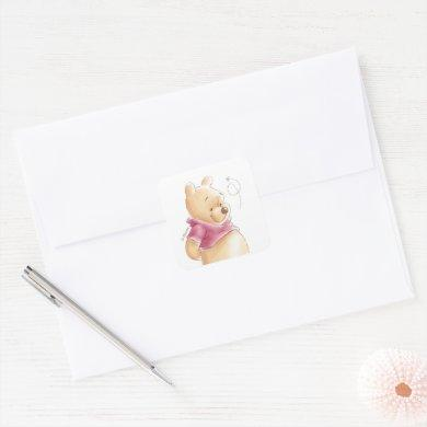 Winnie the Pooh   Fall Pumpkin Baby Shower Square Sticker