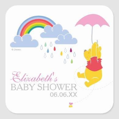 Winnie the Pooh | Girl Baby Shower Square Sticker