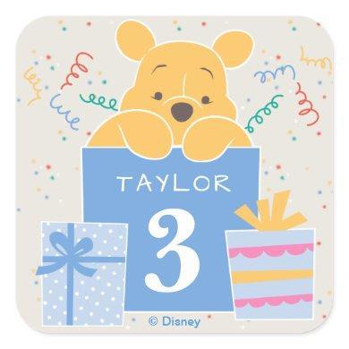 Winnie the Pooh | Happy Birthday Square Sticker