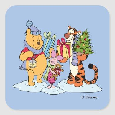 Winnie the Pooh | Happy Holidays Gift Giving Square Sticker