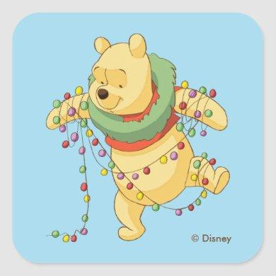 Winnie the Pooh | Pooh Christmas Lights Square Sticker