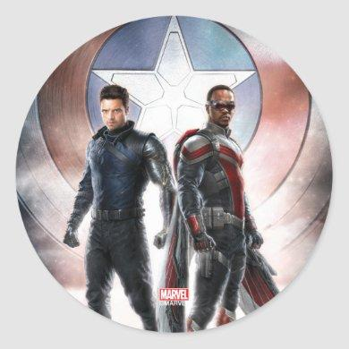 Winter Soldier & The Falcon in Front of Shield Classic Round Sticker