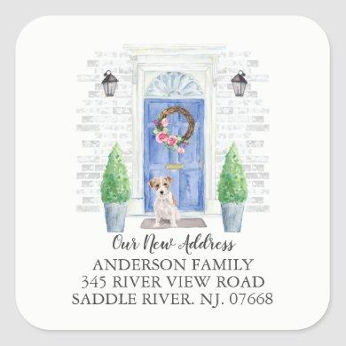 Wire Haired Jack Russell Blue Door Address Label