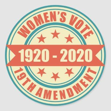 Women's Right to Vote Centennial Classic Round Sticker
