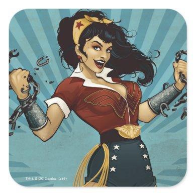 Wonder Woman Amazonians Unite Vintage Poster Square Sticker