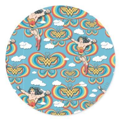 Wonder Woman Flying High Pattern Classic Round Sticker