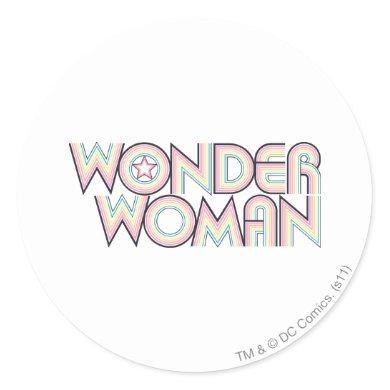 Wonder Woman Rainbow Logo Classic Round Sticker